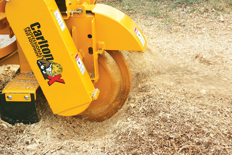Stump grinding in action